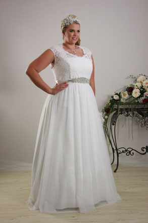 Large size deb dress with lace bodice