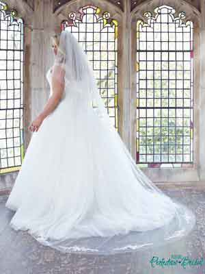 Full length Anastasia gown with matching Lace cathedral veil