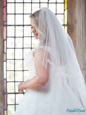 Anastasia wedding gown with matching lace veil