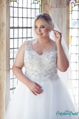 Beaded plus size wedding dresses Gwyneth close up