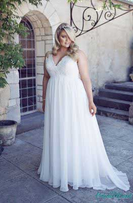 Simple wedding dresses plus size Andrea full length.