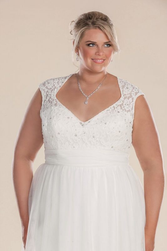 Larger size wedding dress with lace bodice