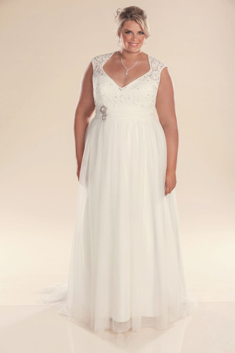 Plus size larger fit wedding dress