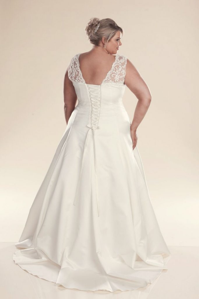 Back of Ivory A-line wedding dresses
