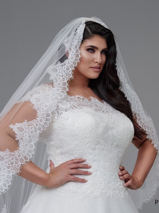 Lace veils with lace wedding dresses