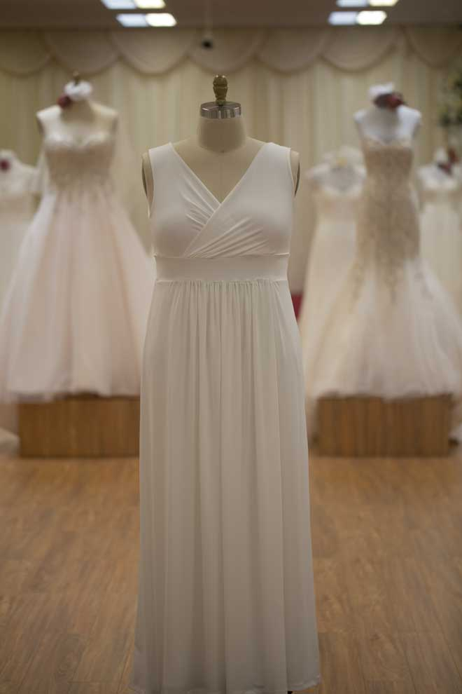 Long Ivory bridesmaids dress on model