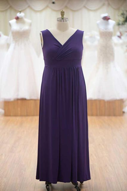 Long purple bridesmaids dress purple with straps