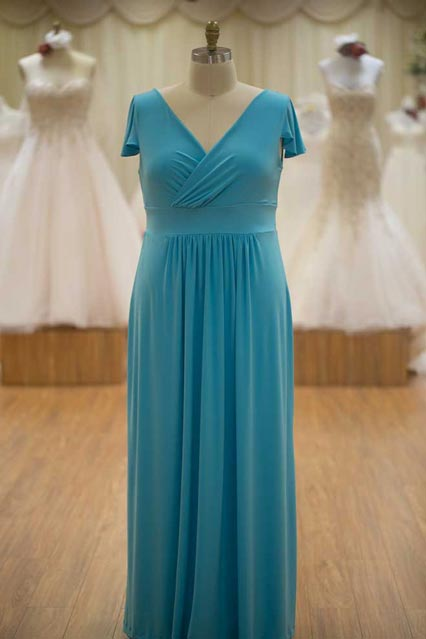 Blue bridesmaids dresses with sleeves