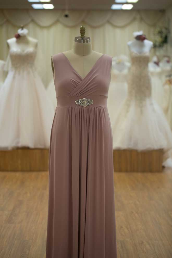 Long bridesmaids dresses pink with straps