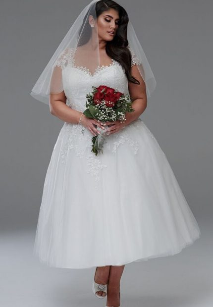 Anna shorter length short wedding dresses