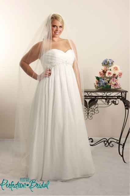 Venus empire line wedding dress with veil