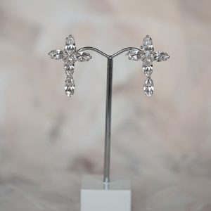 Cross wedding earrings for brides