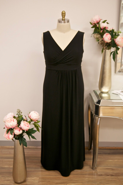 Long black bridesmaids dresses