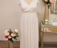 Long ivory bridesmaids dresses