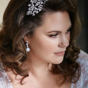 Bridal Headband with short sleeve wedding dress
