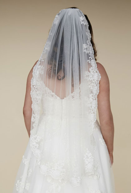 Long lace trim veil instead of a train