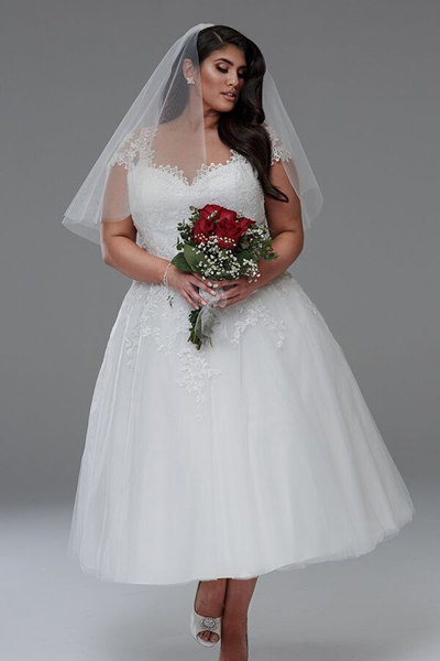 Anna tea-length short wedding dress