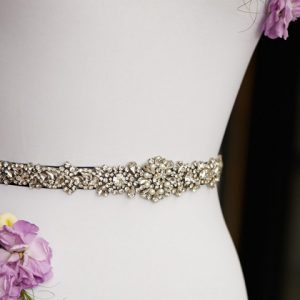 Sparkling black wedding dress belt