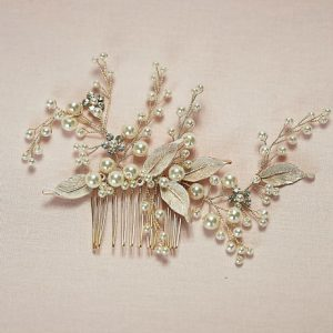 Rose gold hair comb for brides