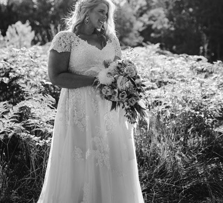 A-line wedding gown off the shoulder